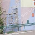 Szycie pękniętego muru przy pomocy krótkich Saver Profili - nierdzewnych profili o kształcie śrubowym.